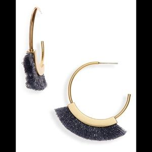 NWT Madewell fringe hoop earrings - hematite lurex